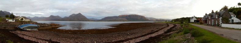 Panorama from the Fishing Pier in Inveralligin Village - Torridon, Scotland