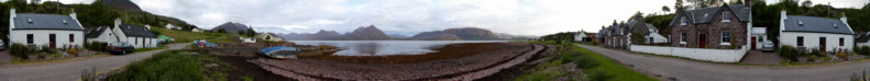 Panorama from the Fishing Pier in Inveralligin Village, including Wavecrest and Ivy Cottage - Torridon, Scotland