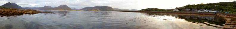 Panorama from the Fishing Pier in Inveralligin Village at Low Tide on a beautiful evening in June - Torridon, Scotland