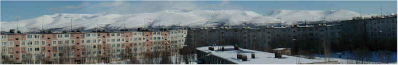 Panorama from Valentina's Apartment looking North towards the Arctic Khiberny Mountain Range
