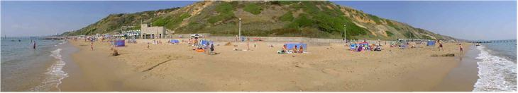 Panorama of the beach at Bournemouth, UK - On a sunny August weekend!