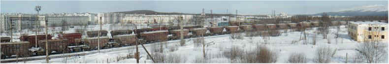 90degree Panorama of Russian Goods Train (at Apatity) on the Famous Murmansk to St Petersburg  - Oktabraskaya Railway!