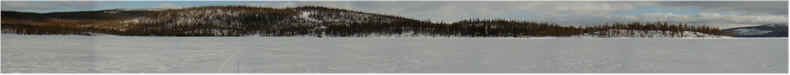 "Panorama from the frozen Imandra Lake looking North towards the ""House of Scientists"" - Imandra Rest Base - Kola Science Centre - 7th April 2001"