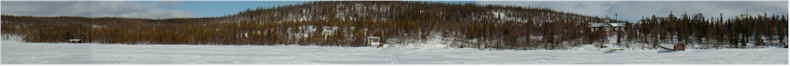 Panorama of the Imandra Rest Base & Biological Test Station from the frozen Imandra Lake - on Snowmobile! - 7th April 2001