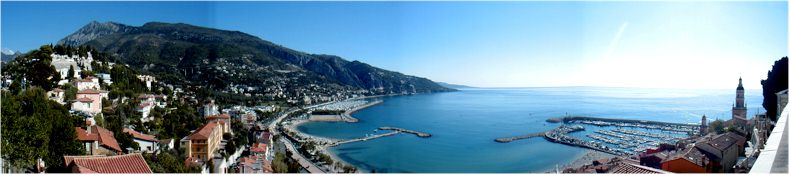 View from the cemetery above the old city of Menton on the French Cote D'Azur - September 2002