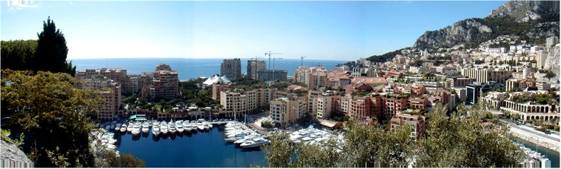 View from the Monaco Gardens towards the new region of Fontveille - Sept 2002