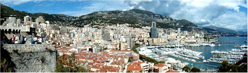 View from the terraces of the Palais of Monaco toward Monte Carlo and Roquebrune - Sept 2002