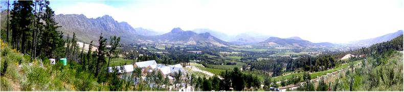 View from the N45 Road leaving Franschhoek and drivin south over the pass towards Grabouw