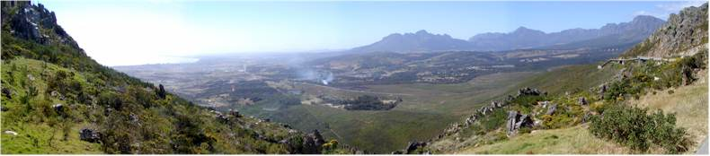 The Sir Lowry's Pass on a clear windy day looking towards Cape Town (N2)