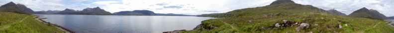 Panoramic View South towards Ben Damph and Shieldaig from the Coastal Path that leads from Torridon to Inveralligin and Diabeg Villages