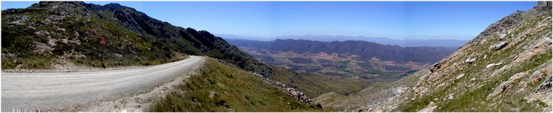 View from the summit of the Swartberg Pass (Zwartberg Pass) at around 1536Metres looking south towards the Klein Karoo farmlands