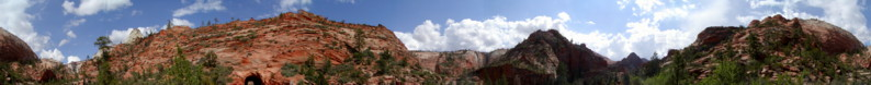 View across the red rock of Zion Canyon Natural Park, Utah, just after the long tunnel